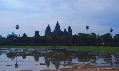 "Angkor Wat at dawn - 15% of artist's profit from the sale of any print of ""Cambodia- Past & Present Tense"" will be donated to FWAB to benefit the Ankgor Hospital for Children (Mary Durante Wehrhahn)"
