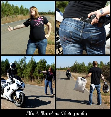 Never trust pregnant women Young woman pretending to be pregnant hitchhiking steals young mans motorcycle at gun point