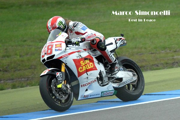 In respect of Marco Simoncelli , classic racer, who tragically died this morning at the GP in Sepang