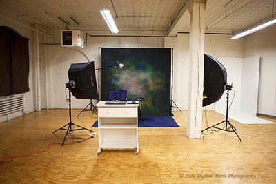 The Studio This photo shows one of the shooting areas in the studio.