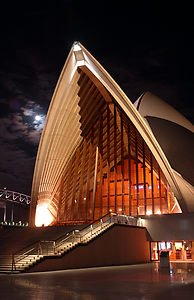 Concert Hall Night time shot of the rear entry of the Concert Hall of the Sydney Opera House.