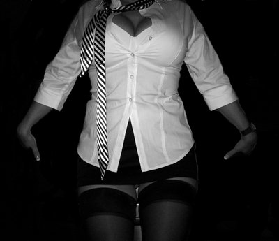 My tie looks better on you. Lovely Beauty in man's tie and white shirt