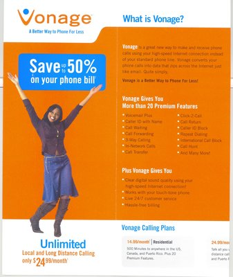 Vonage Ad Campaign Vonage National Ad Campaign. This Ad can be viewed in all Best Buy & Circuit City Stores!