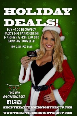 Gift Card Christmas Bonus! a photo from Cowboy Jack's website, promoting our gift card deals starting black friday