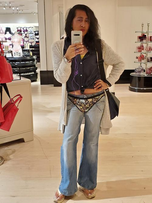 """Floral Thong Over Jeans <a href=""""/tags/?tag=pantiesoverjeans"""">#pantiesoverjeans</a>  <a href=""""/tags/?tag=thongoverjeans"""">#thongoverjeans</a>  <a href=""""/tags/?tag=underwearoverjeans"""">#underwearoverjeans</a>"""
