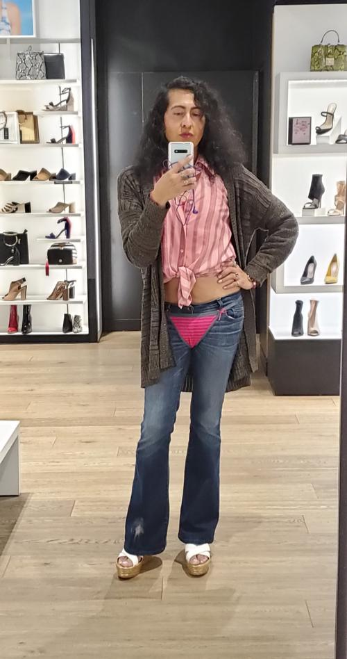Ooh La La Sexy pink thong over my tight bellbottom jeans  #thong  #jeans  #beautiful