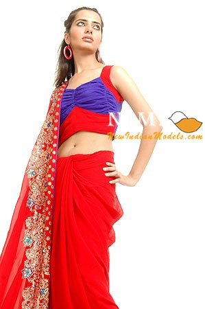 KARISHMA SHANDIL IN A TRADITIONAL INDIAN SAREE KARISHMA DISPLAYS A COLORFUL INDIAN SAREE DURING A PHOTO-SHOOT IN NEW DELHI