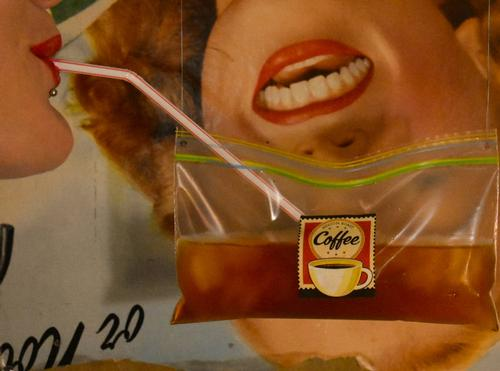 Cafeto Title: Cafeto. Artist: Kanndro. Model: PrivateProperty. Iced Coffee: Sumatra Aceh Gayo pure Arabica Luwak coffee. I would like to say that first and foremost this is a surrealist image made for pure visual enjoyment and ocular absorption.Secondly this was also inspired by the recent Eugene city council's proposal to ban polystyrene and one use plastics in Eugene.I think the answer is transparent
