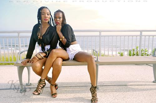 Veronica & Teia at the KDP Annual Beach Shoot 2 Models Veronica and Teia poses on the boardwalk at Rockaway Beach, Queens during the KDP Annual Beach Shoot 2 - 2018 on 08/18/18.