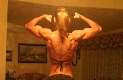 Back Double Bi pose 2007 Photo taken 5 days out from Greek Physique Bodybuilding Competition (1st Place Overall Women's Divison)