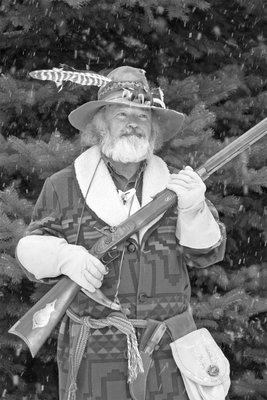 Cal Mountain Man Cal with Hawken Rifle. B&W
