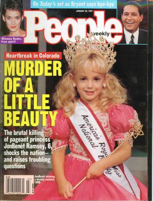 JonBenet - Cover Crown Shot of  JonBenet Ramsey which signaled the launch of a worldwide media blitz in 1997.