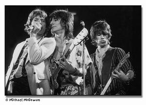 "Stones in b/w Mick Jagger, Ron Wood and Keith Richards on ""Shattered"""