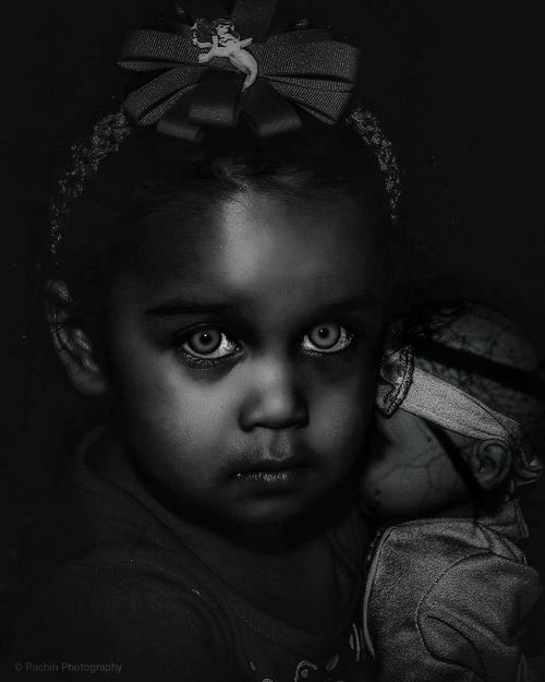 Want to play? My niece in a photo manipulation.  #scary  #spooky  #doll  #baby  #girl  #blackandwhite  #bnw  #play