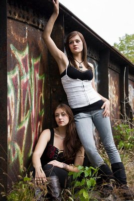 Urban Glam Models Teshia and Courtney. Shot on the rail lines in Stratford, on a Canon Rebel Xsi.