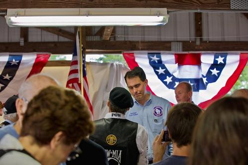 Vietnam Wall Ceremony The Wall That Heals Event in Crivitz, Wisconsin - 2018.  Governor Walker Listening