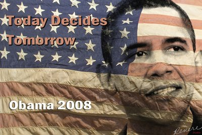 Obama '08 Today Decides Tomorrow Obama Campaign Illustration.  This was my contribution to the his campaign and was auctioned for $$.  It's been in the O.C Register and many other publications.  Special thanks to Mike Paxton for his late 1940's flag.