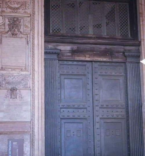 Oldest Door~Rome Pantheon The oldest door still in use in Rome, Pantheon. Cast in bronze for emperor Hadrian's rebuilding, they date from about 115 AD. Each door is solid bronze seven and a half feet wide & twenty-five feet high, yet so well balanced they can be pushed or pulled open easily by one person.