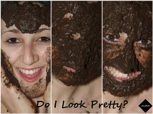 I Do Look Pretty? One of my models doing her morning routine by putting a mud pack on her face.