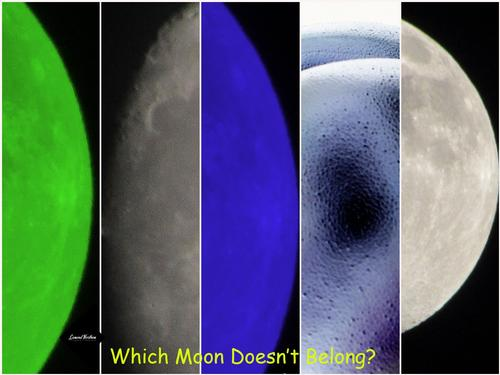 Which Moon Doesn't Belong? A photo to study over to see which one of these images in this collage is not an actually moon shot.