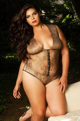 Photo shoot Look from a photo shoot for plus size lingerie line, Intimates Plus Inc.