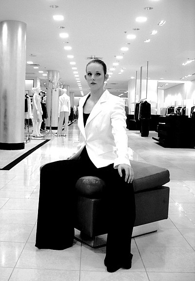 The Chill Series Ensemble from Armani Collezioni. Make-up by Sarah Cheshier with Diane von Furstenberg Beauty. Photography at Saks Fifth Avenue at Dallas Galleria.