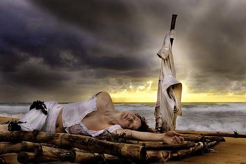 """Shipwrecked I grew the bamboo, cut it down, made a raft and even sacrificed an old shirt for this one, and she just gets to take a nap! <a href=""""/tags/?tag=artnude"""">#artnude</a>  <a href=""""/tags/?tag=shipwrecked"""">#shipwrecked</a>"""