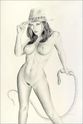 """Indiana Carlotta"" Playboy model Carlotta Champagne in a sexy pose, wearing only her hat and whip.  20"" x 30"", graphite on illustration board"