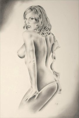 "Lindsey Vuolo Playboy Playmate Lindsey Vuolo, in a  sultry, steamy image. Graphite on illustration board, 20"" x 30"""