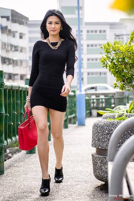 Seamless Mini Tube Dress Young Asian woman walking outdoors