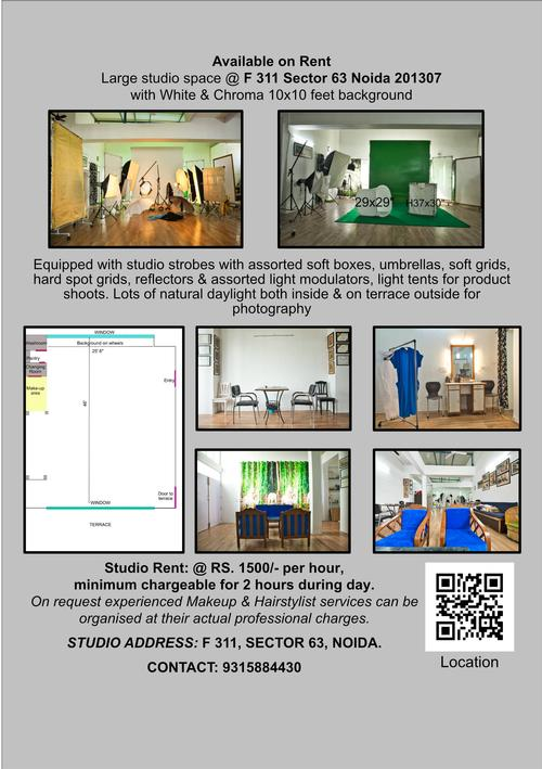 New Studio New studio at F 311 Sector 63 Noida/NCR India Also available on hire to photographers and agencies on day shift basis.