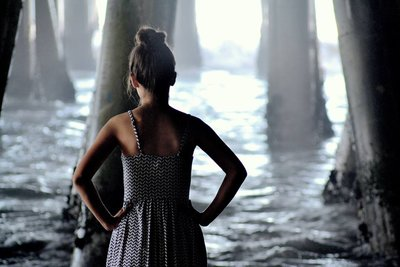 Pacific Thinking Shot under a pier in California
