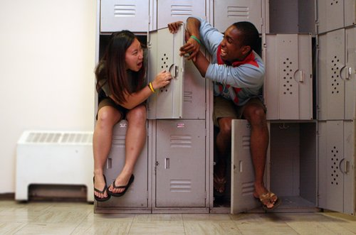 Sitting Silly Again with Barbra, this time in Canada.  You give a pair of models a set of lockers and they'll make mischief... just saying.