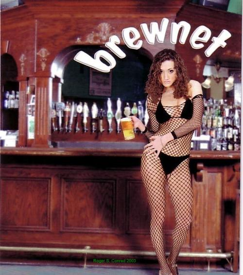 Brewnet Brunette model holding a beer while wearing a net suit.