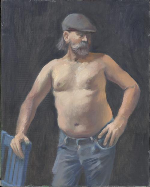Barechested man in jeans