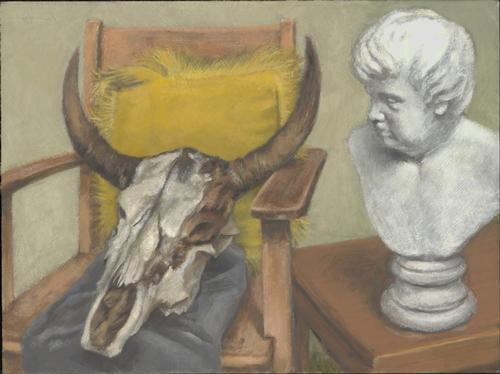 Cow skull and boy bust