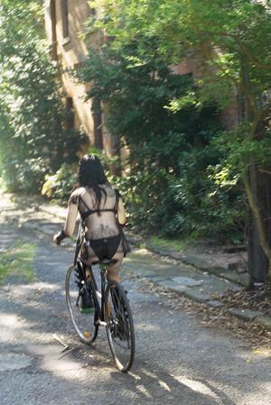 Cycling in Transylvania Off to the shops, for a leather backpack.